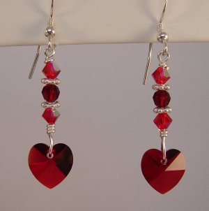 Valentine's Day Red Crystal Heart Earrings with Swarovski Crystal Elements - H1002