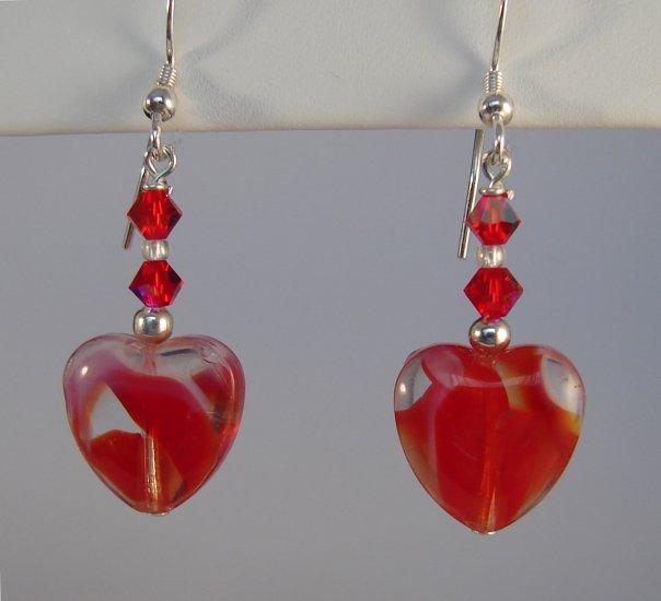 Sterling Silver Red Heart Earrings - R138