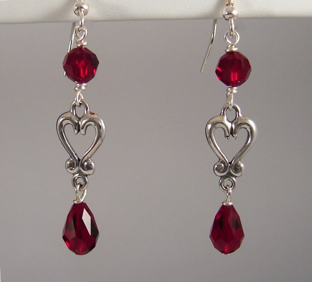 Valentine's Day Sterling Silver  Chandelier Heart Earrings with Swarovski Crystal Elements - R141