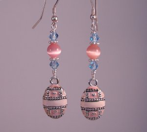 Pink & Blue Easter Egg Earrings w/ Swarovski Crystals - H1021