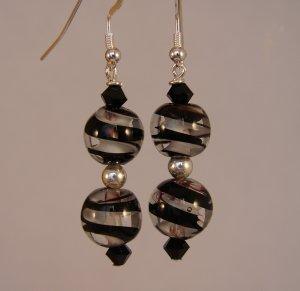 Black / White Glass Swirl Earrings with Swarovski Crystals - BK115