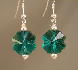 St. Patrick's Day Green Clover / Shamrock Earrings w/ Swarovksi Crystal Elements - C116