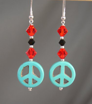Turquoise Colored Peace Earrings w/ Red & Black Swarovski Crystals