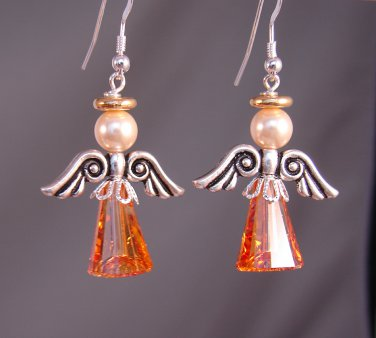 Astral Pink Swarovski Crystal Angel Earrings