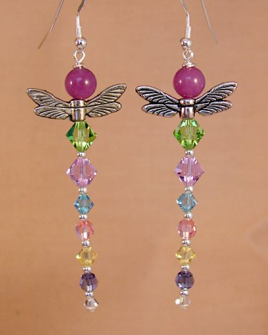 Purple Jade Multi Colored Dragonfly Earrings w/ Swarovski Crystal Elements - D113