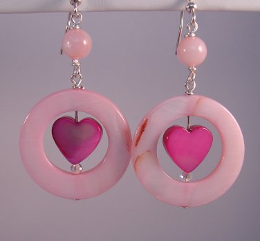 Pink Heart Mother of Pearl / Shell Earrings - P887