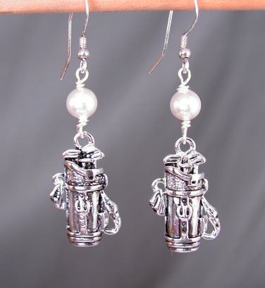 Silver Golf Bag Earrings with white Swarovski Glass Pearls