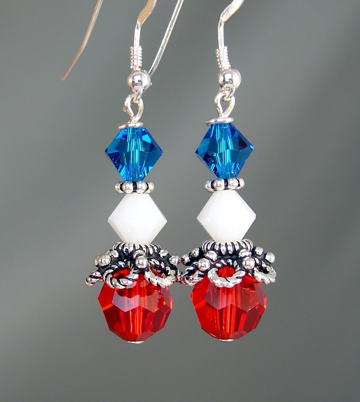 Red White & Blue Crystal 4th of July Earrings - H602