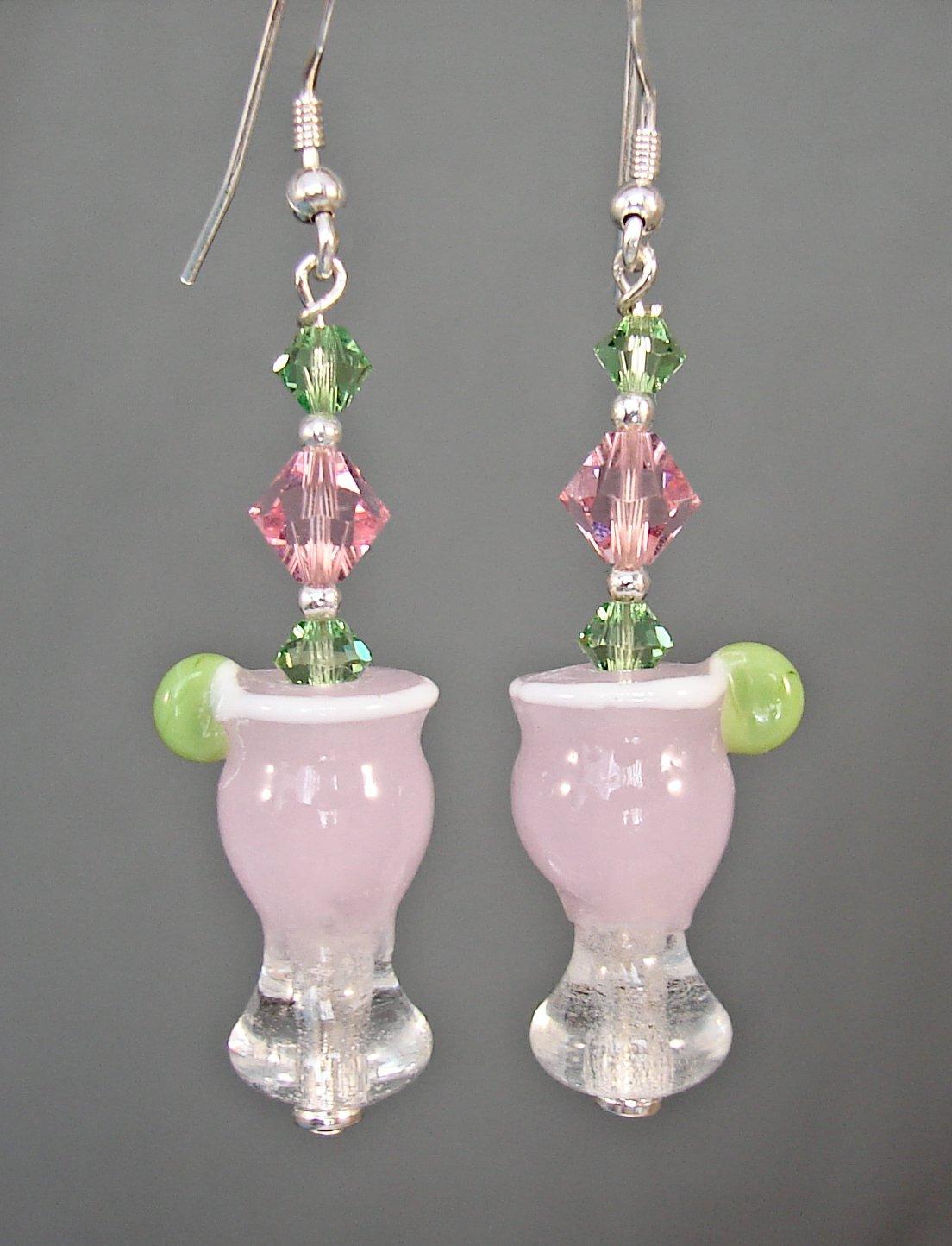 Lampwork Margarita Earrings for Cinco De Mayo - P174