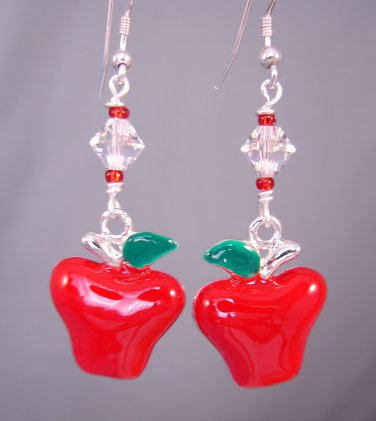 Red Apple Earrings with Swarovski Crystals - A113