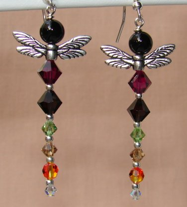Black Onynx Multi Colored Dragonfly Earrings with Swarovski Crystal Elements