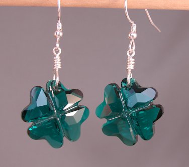 St. Patrick's Day Crystal Clover / Shamrock Earrings w/Swarovski Crystal Elements