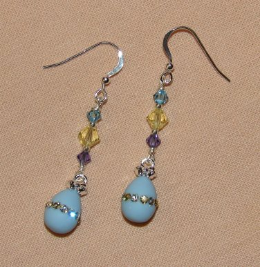 Blue Easter Egg Earrings w/ Blue, Yellow & Purple Swarovski Crystal Elements