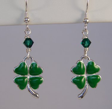 Green Clover / Shamrock  St. Patrick's Day Earrings - E147