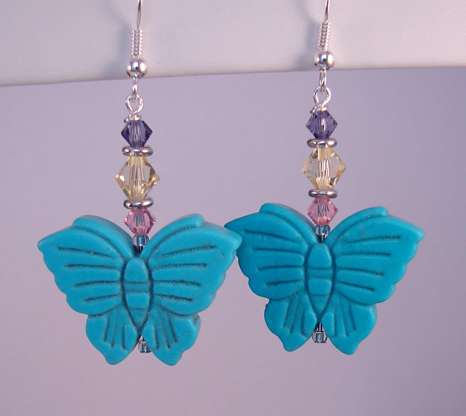 Turquoise Butterfly Earrings w/Purple Yellow & Pink Swarovski Crystal Elements