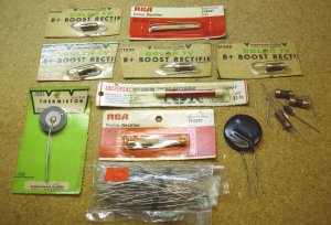 Old TV repair parts, some used, most are NOS new old stock, TCG #125 diodes.