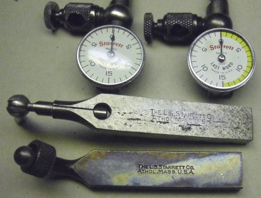 Starrett # 711 Last word indicators, both with cases, one a goose neck shank, one a universal shank.