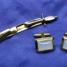 Vintage Swank, Cufflinks and Tie clip, goldtone, cloudy white stones. late 1950.