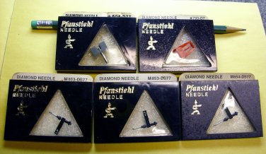 Record player needles Pfanstiehl, replacement turntable stylus,(5) ORIGINAL NOS new old stock