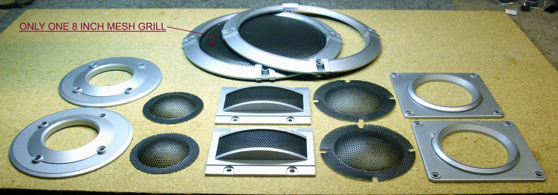 Speaker grills and loudspeaker beauty rings, plastic.