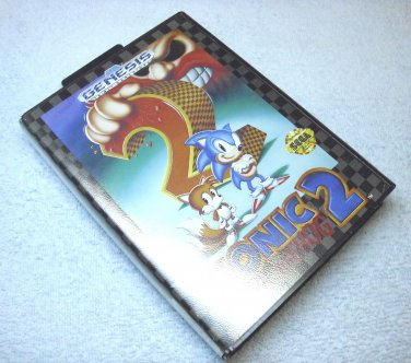 Sonic the Hedgehog 2 with Tails the Fox, Sega Genesis video game cartridge, with case, 1992.