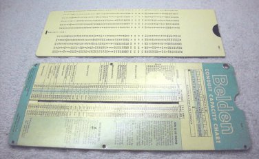 Belden wire, conduit capacity slide rule chart 1964, by Perrygraf.