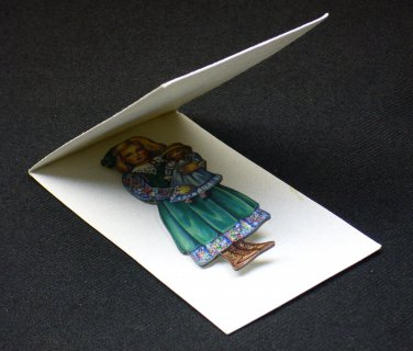 Doll Pin, art by Karen Prince, handcrafted, Prince Doll Studio with display card. Green - Blue 1992.
