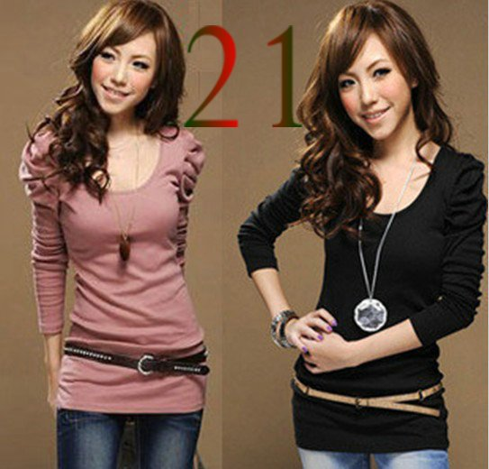 2pcs/lot  Women's Good  Puff Long Sleeve T-Shirts Ladies Top Wear Lady Clothes O-Neck