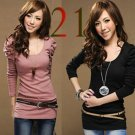 2pcs/lot  Women's Good  Puff Long Sleeve T-Shirts Ladies Top Wear Lady Clothes O-Neck