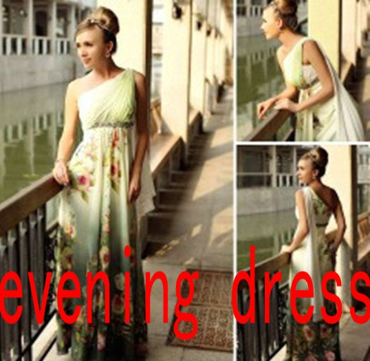 dinner dress,Long evening dress, printing, performing chair dress, cocktail dress party