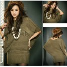 dress sweater clothing apparel Women Women's fashion wild loose bat sleeve sweater sweater dress