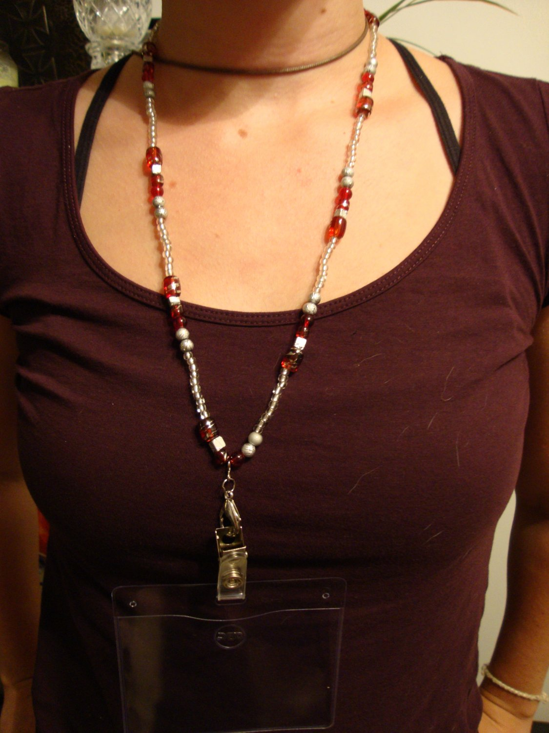 Red & Silver beaded Lanyard