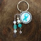 Teal Ribbon Key Chain