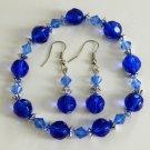Blue Bead Bracelet and Earrings