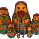 """Royal Guard"". Set of Seven Russian Nesting Dolls. Vintage."