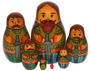 """Royal Guard"". Set of Seven Russian Nesting Dolls. Vintage."