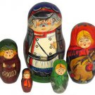 Soldier's Family. Set of Five Russian Nesting Dolls.