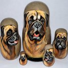 Bullmastiff on Russian Nesting Dolls. Dogs. # 2.