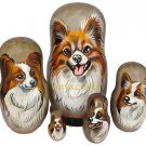 Papillon on Five Russian Nesting Dolls. Red/White. Dogs