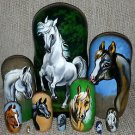 Arabian Horses on Russian Nesting Dolls. Set of Ten. White.