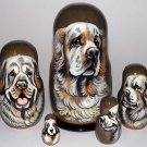 Clumber Spaniel on Five Russian Nesting Dolls. #2. Dogs
