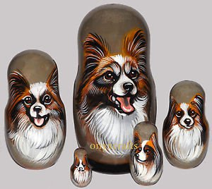 Papillon on Five Russian Nesting Dolls. Tri-Color. Dogs. #2.