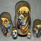 Bloodhound on Five Russian Nesting Dolls. Dogs. #1.