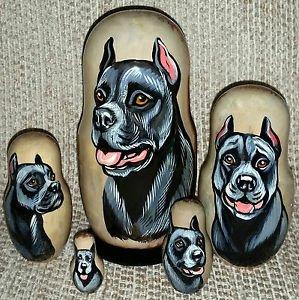Pit Bull Terrier on Five Russian Nesting Dolls. Black. Dogs