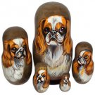 English Toy Spaniel on Five Russian Nesting Dolls. Dogs. Red/White.