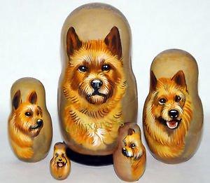 Australian Terrier on Russian Nesting Dolls. Dogs. #2.