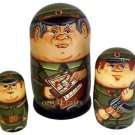 """""""You're in the Army Now"""". Set of Three Russian Nesting Dolls."""