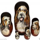 Grand Basset Griffon Vendeen on Five Russian Nesting Dolls. Dogs. #2.