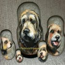 Otterhound on Five Russian Nesting Dolls. Dogs.