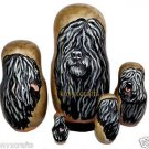 Puli on Five Russian Nesting Dolls. Dogs. #22.